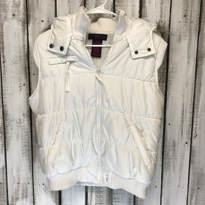 White Puffer Vest with Faux Fur Lined hood SZ XL
